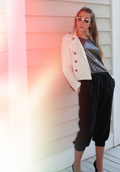 Kyla Curtis - Ray Ban Sunglasses, Forever 21 Military Jacket, Theory Metallic Shirt, Leifsdottir Slouched Trousers - Night Out
