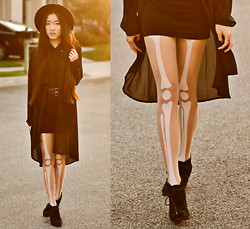 Jennifer Wang - Oasap Wide Brim Hat, Sugarlips Black Chiffon Shirtdress, Oasap Leg Bone Tights - FEMURS & FIBULAS (+ Giveaway)