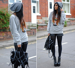 Kavita D - French Connection Uk Skull Jumper, Youwearfashion Vintage Leather Shorts, Alexander Wang Kirsten Tote, Jeffrey Campbell Spike Litas, Topman Grey Beanie - She's a handsome woman