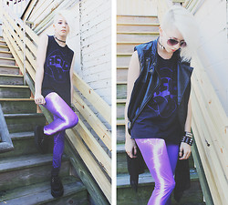 Kat W. - Darkness + Dawn Acid Tee, Romwe Leather And Chiffon Vest, Romwe Lightning Leggings, Demonia Creepers - They drop acid in Valhalla