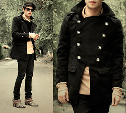 Vini Uehara - Clothingloves Japan Style Mens Multi Buckle Khaki Wool & Blends Parkas - What Would I Want? Sky