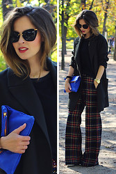 Christine R. - Asos Trousers, Miu Sunglasses, Clare Vivier Clutch Bag, Topshop Oversized Blazer - PFW Outfit