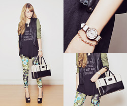 Tricia Gosingtian - Charriol St Tropez Infinite Summer Watch, Emoda Tank Top, Romwe Floral Pants, Choies Jacket, Fashioncookie Shoeavenue Wedges, Kate Spadee Bag - 093012