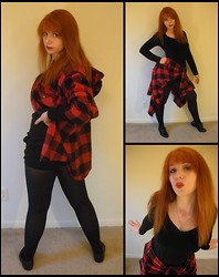 Kiki Marie - Odd Lots Flannel Shirt, Gap Black Shirt, Thrifting Black Oxfords - Flannel Love