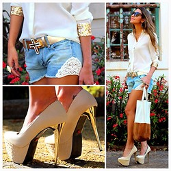Vanessa Vasconcelos - Forever 21 Sequin Blouse, American Eagle Lace Denin Shorts, Kafé Belt, Red Kiss Heels - Shirt and shorts