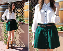 Allie Finch - Forever 21 White Blouse With Black Trim, Forever 21 Green Corduroy Button Skirt, Forever 21 Brown Victorian Style Boots - Morning Vines