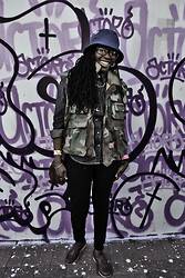 "Lufuno ""Miss Brown"" Sathekge - Sgod Hat, Stolen Military Vest, Levi's® Denim Shirt, Jay Jays Skinny Jeans, Rockport Shoes - STRAIGHT KILLING IT AT STRCRD"