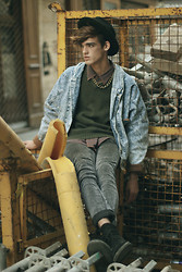 Florentin Glémarec - Levi's® Denim Jacket, Cheap Monday Grey Pant, Clarks Desert Boots, Topman Sweaters - Wrath of god