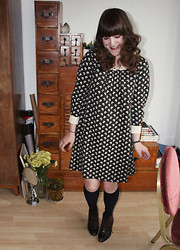 Ashley F - Orla Kiely Dress, Primark Socks, Vintage Boots, Heirloom Brooch - Orla Kiely
