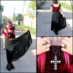 Cynthia † - Vintage Black Skirt, Vintage Velvet Corset, Amen Diamonds Eternal Necklace, Ebay Creepers Crosses - Pink love <3