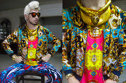 Andre Judd - Baroque Print Silk Jacket, H. Custodio And Sm Layered Gold Neckpieces, Digital Print Silk Tank, Protacio Skinny Jersey Trousers - COLOROCK