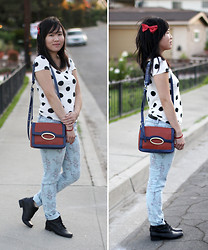 Crystal C - Lucky You Accessories Hair Bow, Forever 21 Top, Liz Baker Boots - Dotty for Fashion