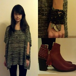 Clara . - Agnès B Bracelet, Blink Ankle Boots, Knit Top, Thrifted Assorted Leather Bracelets - Leather and studs make me happy
