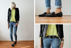 Sietske L - Minusey Jacket, Romwe Mohair Sweater, H&M Belt, H&M Jeans, Romwe Spiked Loafers - Bracelet giveaway on my blog!