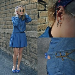 Diana Vioget - H&M Alternative Earring, Brandy And Melville Cross Necklace, Bershka Blue Skirt, Deichman Blue Vintage Flats - Blue velvet.
