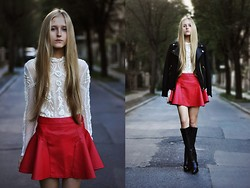Dominica Justyna - Romwe Leather Red Skirt, Zara Blouse, Zara Jacket, Zara Boots - Red leather.