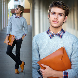 Adam Gallagher - Gudrun & Sweater, Urban Outfitters Plaid, Manvelope, Topman Trousers - Manvelope