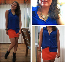 Anna M - Oasap Orange Mini Skirt, Oasap Elegant Necklace, H&M Blue Top - Some blue, some orange and some golden