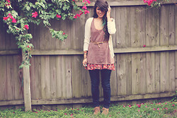 Kaila Mo - Anthropologie Sweater Top, Free People Floral Slip, Free People Cardigan, Old Navy Boots, Ann Taylor Skinnies - Flowah cha-ild.