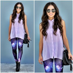 Daniela Ramirez - Beginning Boutique Galaxy Leggings, Beginning Boutique Lavender Top, Jeffrey Campbell Litas, Furor Moda Round Sunglasses, Pimento Berry Black Bag - Galaxy leggings- Out of this world!