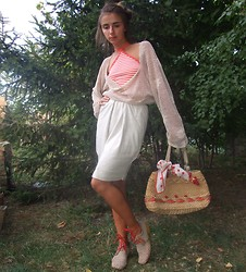 Zorjana Kanjuga - My Handmade Perforated Sweater, My Handmade Cream Skirt - Usual day