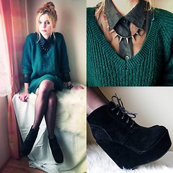 Nesairah Nesstyle - Second Hand Sweater, Czasnabuty.Pl Shoes, Oasap Necklace - BOTTLE GREEN OVERSIZE SWEATER