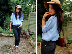 Megan G - The Vintage Set Blouse, Hudson H By Boots, Topshop Floppy Hat, Topshop Super Soft Leigh Jeans - The Vintage Set Returns