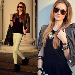 Lisa Fiege - H&M Jacket, Pimkie Shirt, H&M Necklaces, H&M Jeans, Graceland Shoes, H&M Bag - Shine bright like a diamond