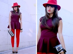 M+C . - Burgundy Peplum Top, Studded Clutch - Wine