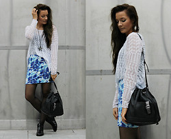 Outi Toivola - Monki White Diamond Patterned Top, Zara Bag, H&M Skirt, Thrifted Shoes, Pieces Starfish Pendant - STARFISH