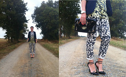 Lereese Atkinson - H&M Floral Top, H&M Floral Trousers, Asos Heels, H&M Patent Bag, Primark Blazer - FLORALS IN FRANCE