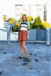 Amanda H. - Madewell Leather Skirt, Madewell Striped Sweater - The Leather Skirt