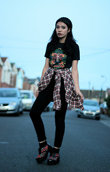 Cristina C - Primark Black Beanie, Philippines Baby Jesus Shirt, My Dad's Checkered Shirt, Primark Black Skinny Jeans, Ebay Tartan Block Heel - The Uni Tramp
