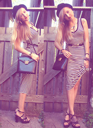 Kendra B - Thrift Store Stripped Dress, Thrift Store Leather Bag - Black & white stripes!