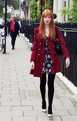 Charlotte Kinsella - Red Fitted Coat., Floral Dress, Pale Pink Heels - I will wait, for you.