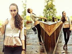 Pauline B - Forever 21 Lace Bustier Peplum Top, Vintage Woven Leather Belt, Hollister Co Brown Skinnies, Vintage Patchwork Satchel, Cheetah Print Booties - Bridge to Terabithia