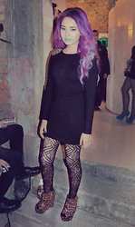 Laura Sanchez - H&M Spiked Dress, H&M Pattern Tights, Forever 21 Leopard Print Wedges - PANTEON INK PARTY