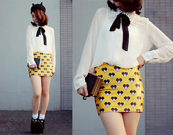 Shan Shan - Choies Hat, Romwe Blouse, Lovelysally Skirt, Diy Kitty Shoes, Choies Bag - Mickey mouse with black kitty
