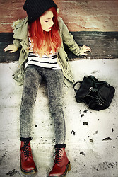 Lua P - Pants, Clothing Loves Striped Tee, Wildpair Docs, Yesstyle Backpack - DR. MARTENS