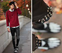 Bobby Raffin - Thrifted Oversized Crimson Knit, Romwe Spiked Knees, Skeleton Dress Shoes - DRY BLOOD.