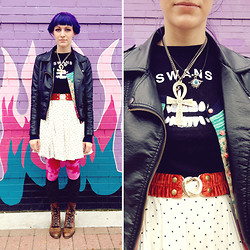 COURTNEY B - Romwe Pleather Jacket, American Apparel Polka Dot Skirt, Betsey Johnson Cardigan, Vintage Necklaces, Thrifted Swans Tshirt, Thrifted Velvet Belt, Urban Outfitters Tights, Urban Outfitters Confetti Socks, Vintage Leather Boots - What would I want? sky.