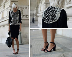 Sietske L - Zara Beaded Jacket, H&M Skirt, H&M Bag, Nelly Heels - Paris Fashion Week #2