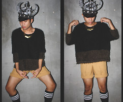 Quayn Pedroso - Trifted Sweater, Tailored Shorts, Adidas Knee High, Toy Kingdom Cap - Dragon Slayer Super Punk Warrior