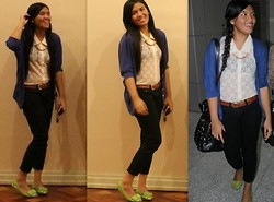 Meredith Fuerte - Ate Macy's Necklace, Pabder Light Green Flats, Bny Black Pants, Trinoma See Through Laces, Giordano Brown Belt, Kamiseta Cardigan - SOMETHING COMFY=)))