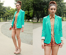 Aileen Belmonte - Choies Blazer - Turquoise and Tailored
