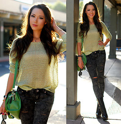 Jessica R. - Udobuy Mint Netted Sweater, Pink Ice Scrapbook Skinny Jeans, Bebe Emma Lace Up Boots, Vivilli Green Bag - Minty Fresh