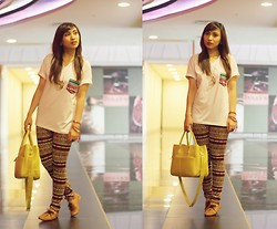 Pauline C - Fashion Dime Manila Pocket Tee, Thrift Shop Aztec Leggings, Cole Vintage Brown Oxfords - Oh oh I'm back!
