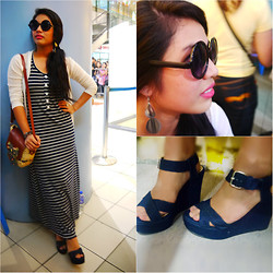 Al Jane Chua - Long Striped Dress, White Laced Cardigan, Swish Miss Black Sunnies, Shoebox&Me Maong Styled Wedge - Stripes strikes