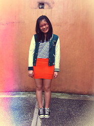 Raffi Alcantara - Forever 21 Varsity Jacket, Landmark Tight Fitted Skirt, Converse Sneakers - Pumped up kicks