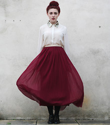 Megan McMinn - Sequin Blouse, Pleated Skirt, Zara Studded Belt, Topshop Boots - OXBLOOD & SEQUINS.